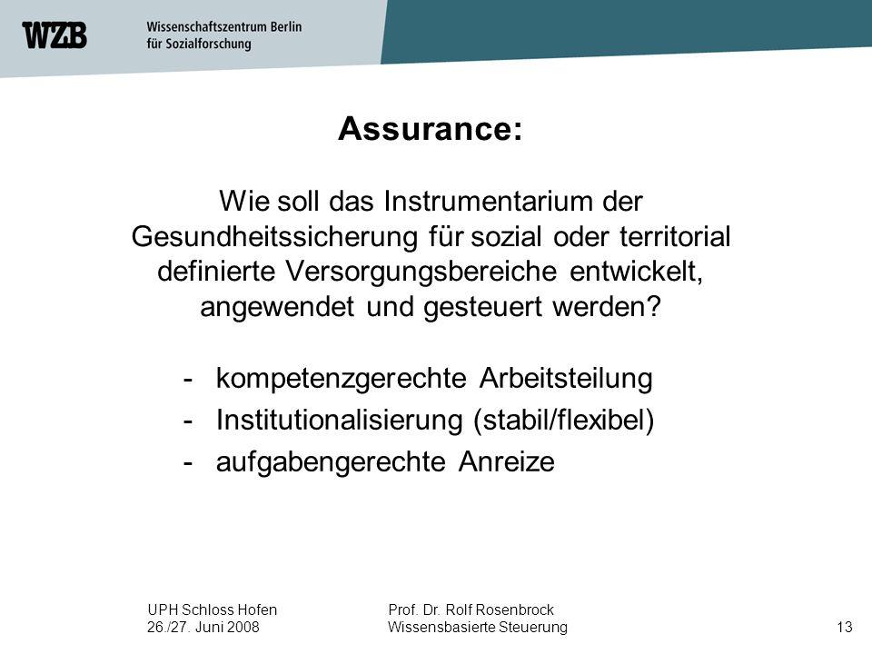 Assurance: Wie soll das Instrumentarium der Gesundheitssicherung für sozial oder territorial definierte Versorgungsbereiche entwickelt, angewendet und gesteuert werden