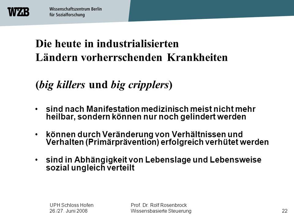 Die heute in industrialisierten Ländern vorherrschenden Krankheiten (big killers und big cripplers)