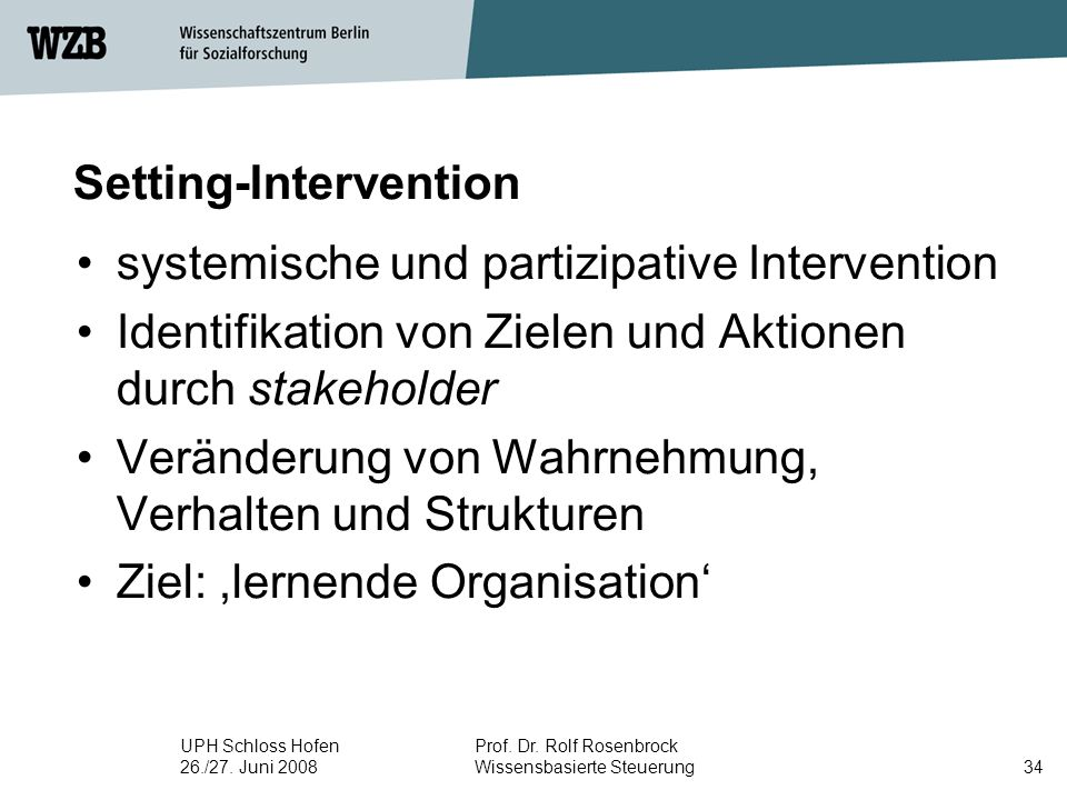 Setting-Intervention