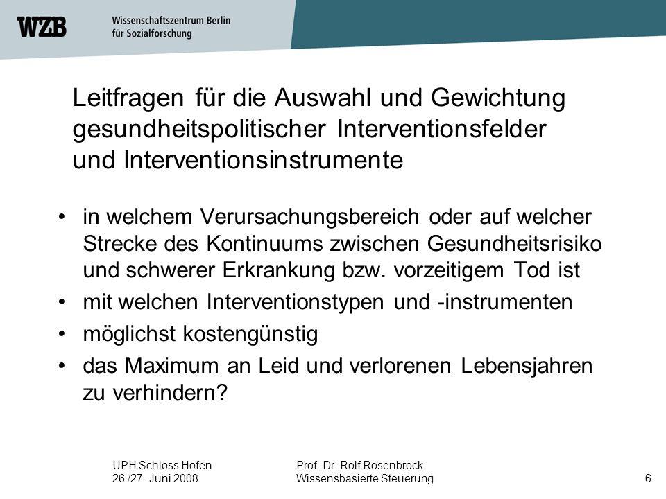 Leitfragen für die Auswahl und Gewichtung gesundheitspolitischer Interventionsfelder und Interventionsinstrumente