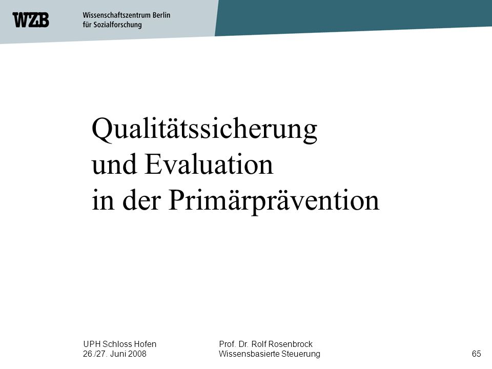 Qualitätssicherung und Evaluation in der Primärprävention