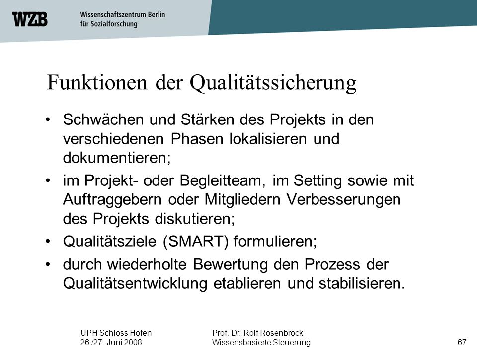 Funktionen der Qualitätssicherung