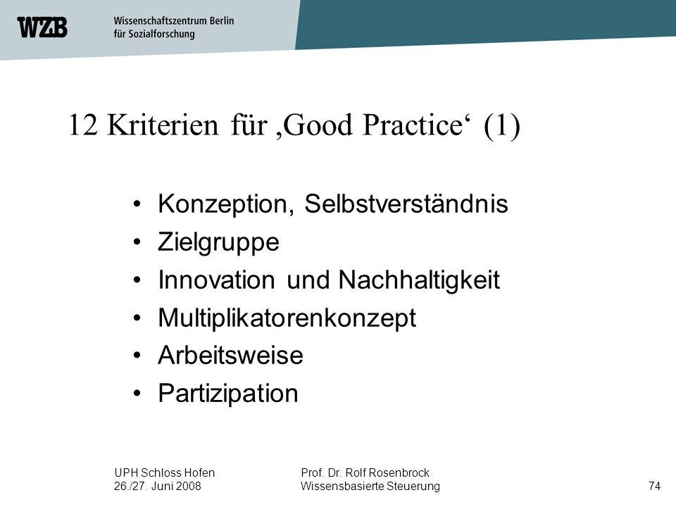 12 Kriterien für ,Good Practice' (1)