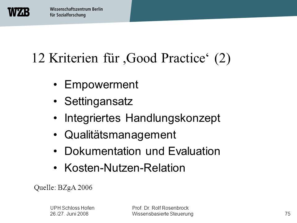 12 Kriterien für ,Good Practice' (2)