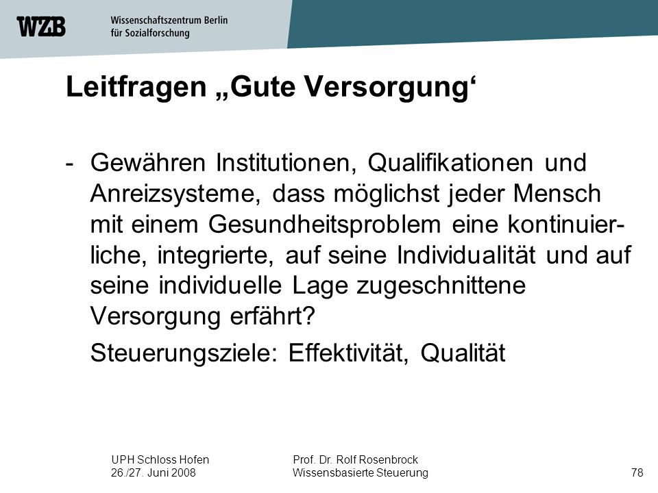 "Leitfragen ""Gute Versorgung'"
