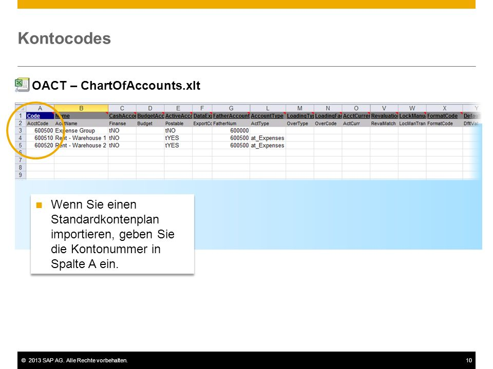 Kontocodes OACT – ChartOfAccounts.xlt