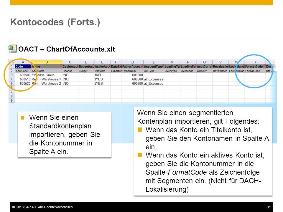 Kontocodes (Forts.) OACT – ChartOfAccounts.xlt