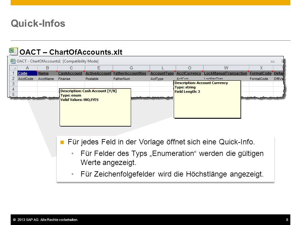 Quick-Infos OACT – ChartOfAccounts.xlt