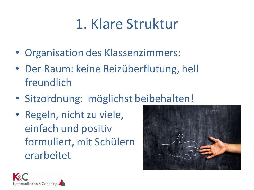 1. Klare Struktur Organisation des Klassenzimmers: