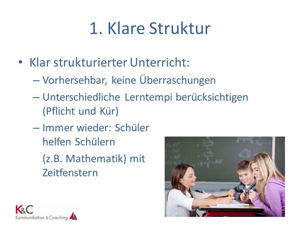 1. Klare Struktur Klar strukturierter Unterricht: