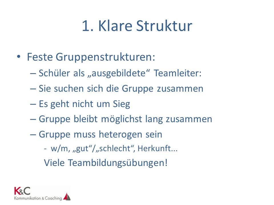 1. Klare Struktur Feste Gruppenstrukturen: