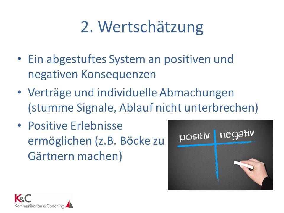 2. Wertschätzung Ein abgestuftes System an positiven und negativen Konsequenzen.