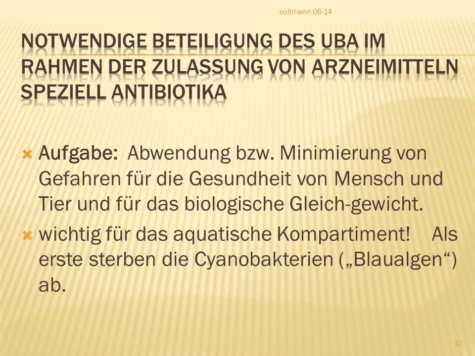 cullmann 06-14 Notwendige Beteiligung des UBA im Rahmen der Zulassung von Arzneimitteln speziell Antibiotika.