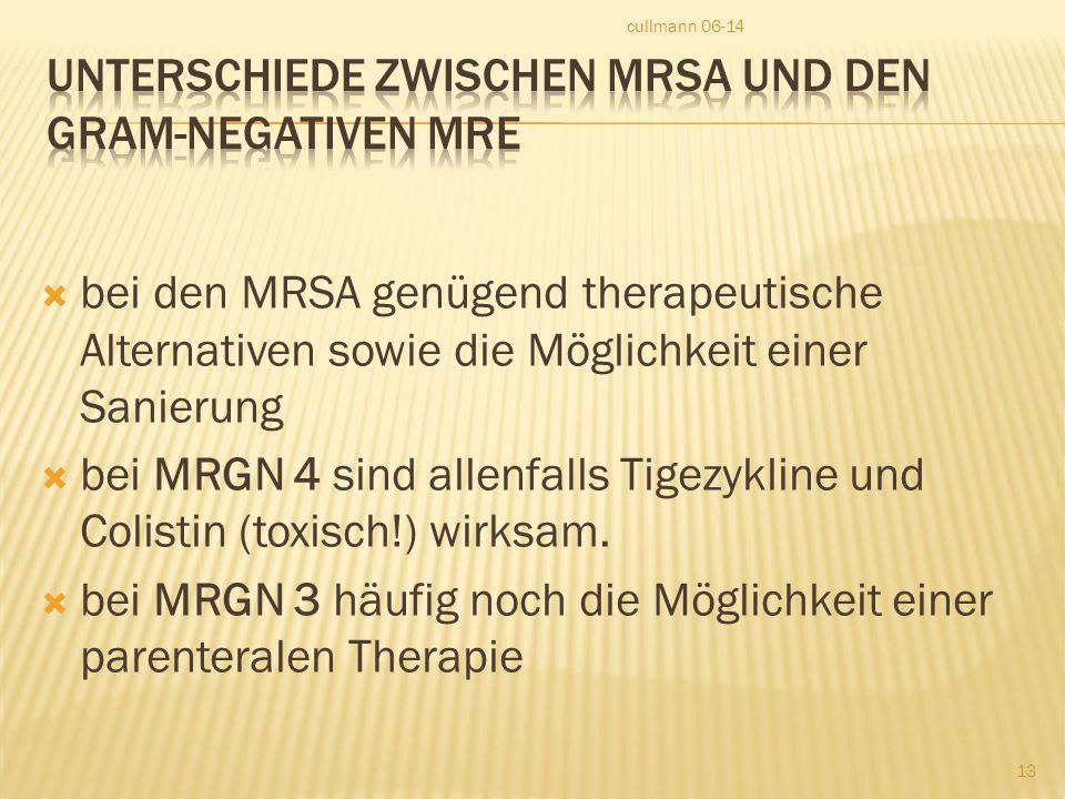 Unterschiede zwischen MRSA und den Gram-negativen MRE