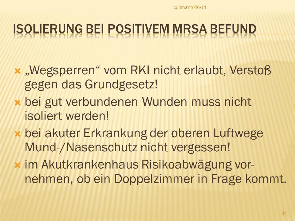 Isolierung bei positivem MRSA Befund