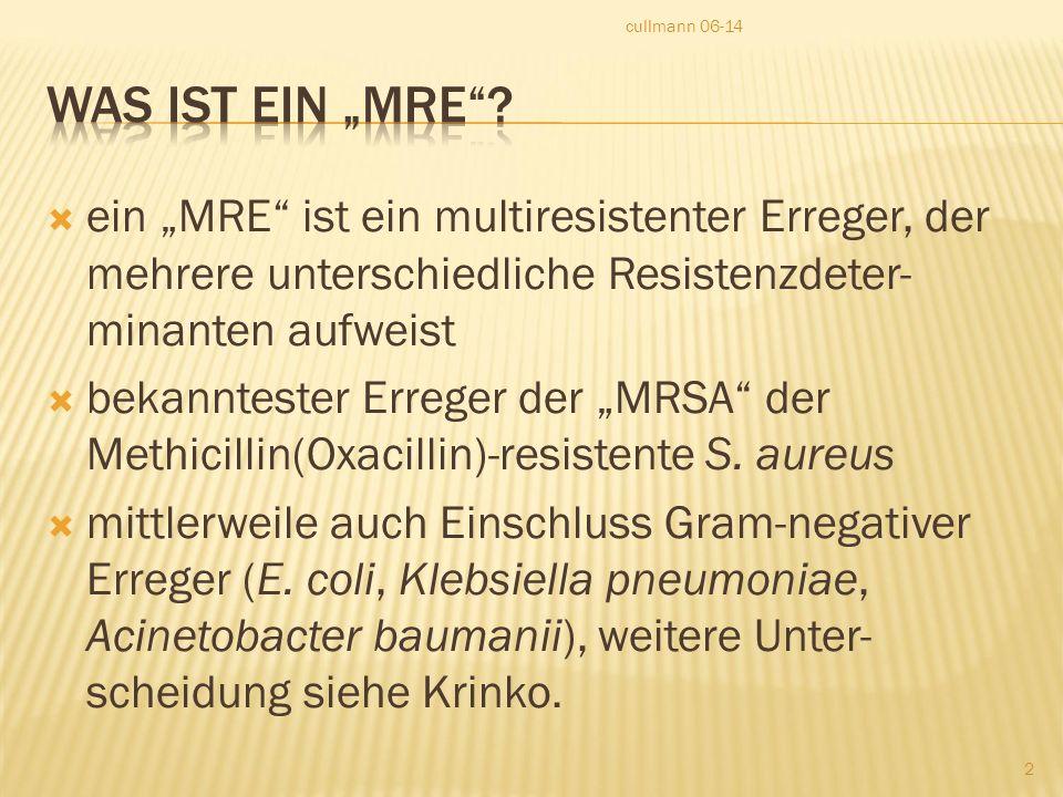 """cullmann 06-14 Was ist ein """"MRE ein """"MRE ist ein multiresistenter Erreger, der mehrere unterschiedliche Resistenzdeter-minanten aufweist."""