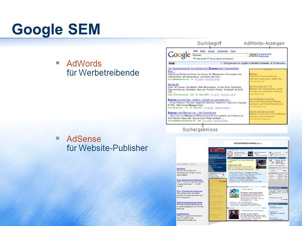 Google SEM AdWords für Werbetreibende AdSense für Website-Publisher