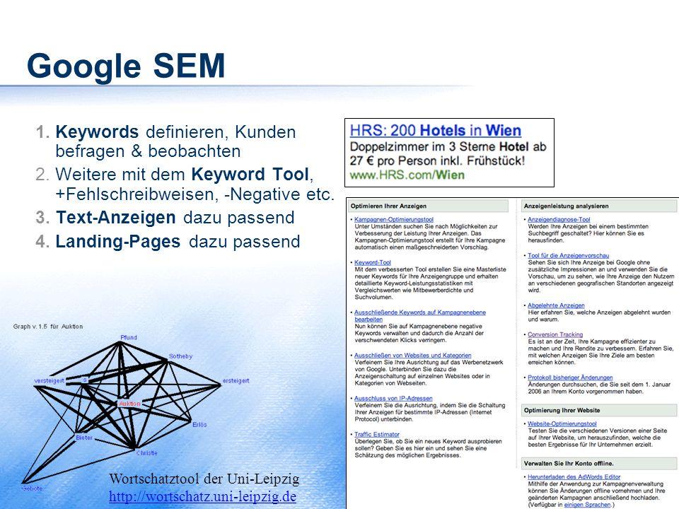 Google SEM Keywords definieren, Kunden befragen & beobachten