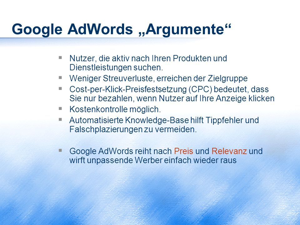 "Google AdWords ""Argumente"