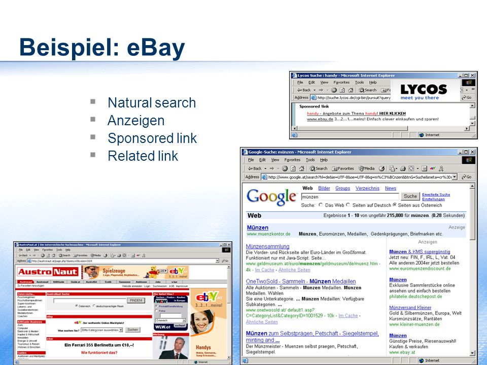 Beispiel: eBay Natural search Anzeigen Sponsored link Related link