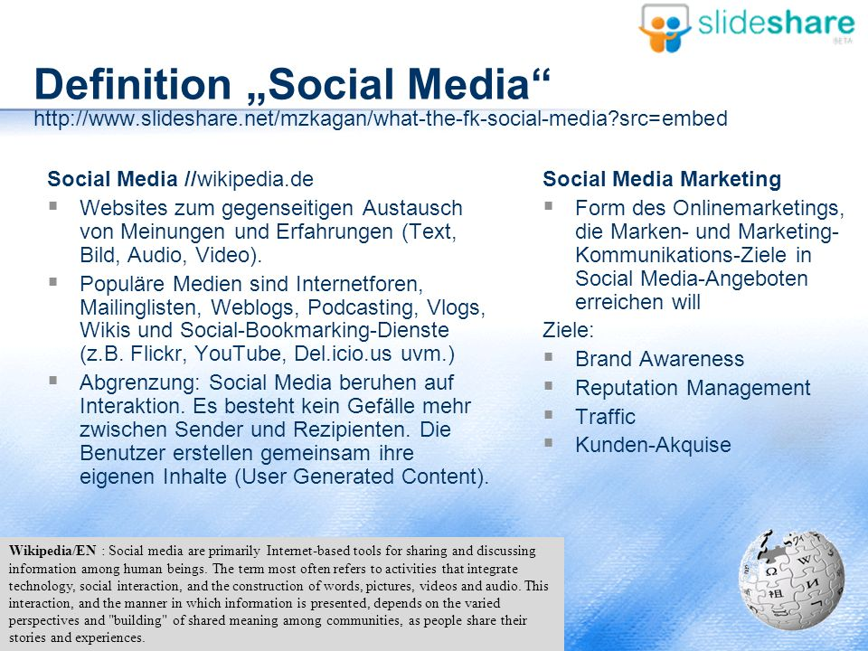"Definition ""Social Media http://www. slideshare"