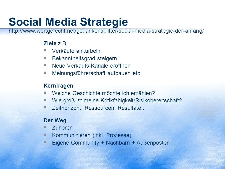 Social Media Strategie http://www. wortgefecht