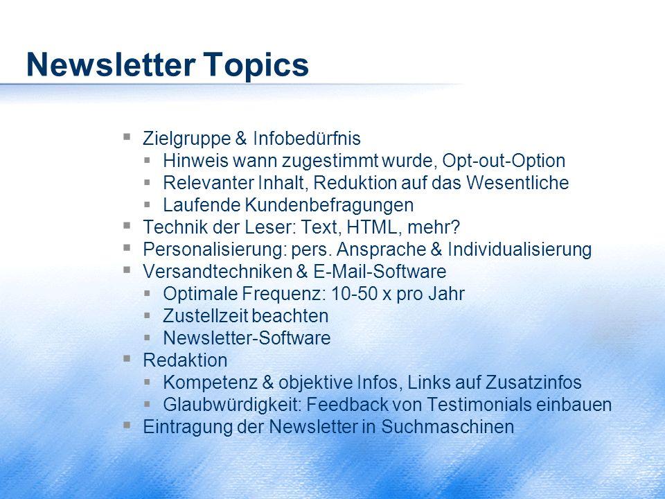 Newsletter Topics Zielgruppe & Infobedürfnis