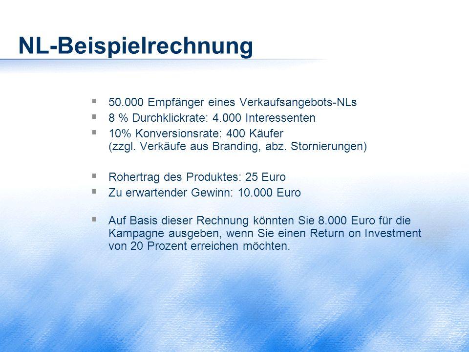 NL-Beispielrechnung 50.000 Empfänger eines Verkaufsangebots-NLs