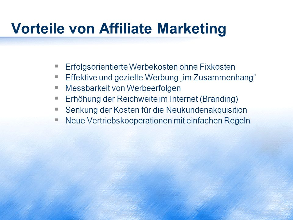 Vorteile von Affiliate Marketing