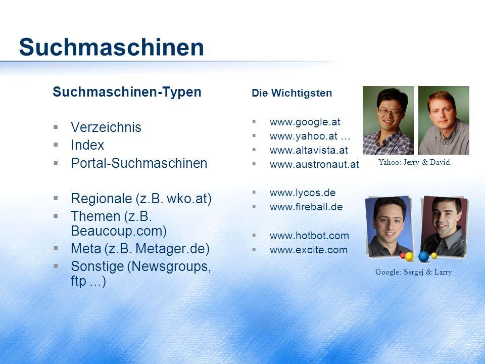 Suchmaschinen Suchmaschinen-Typen Verzeichnis Index