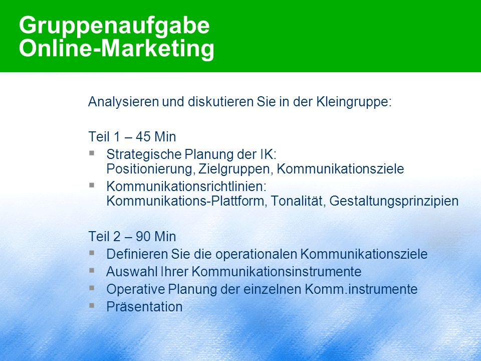 Gruppenaufgabe Online-Marketing