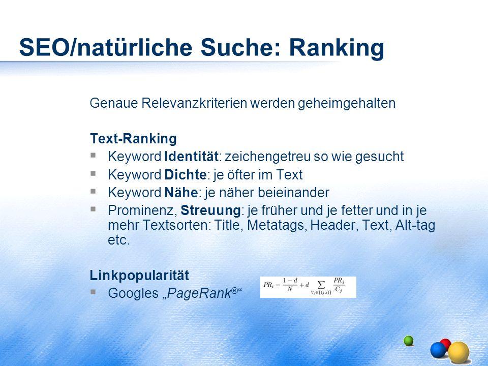 SEO/natürliche Suche: Ranking