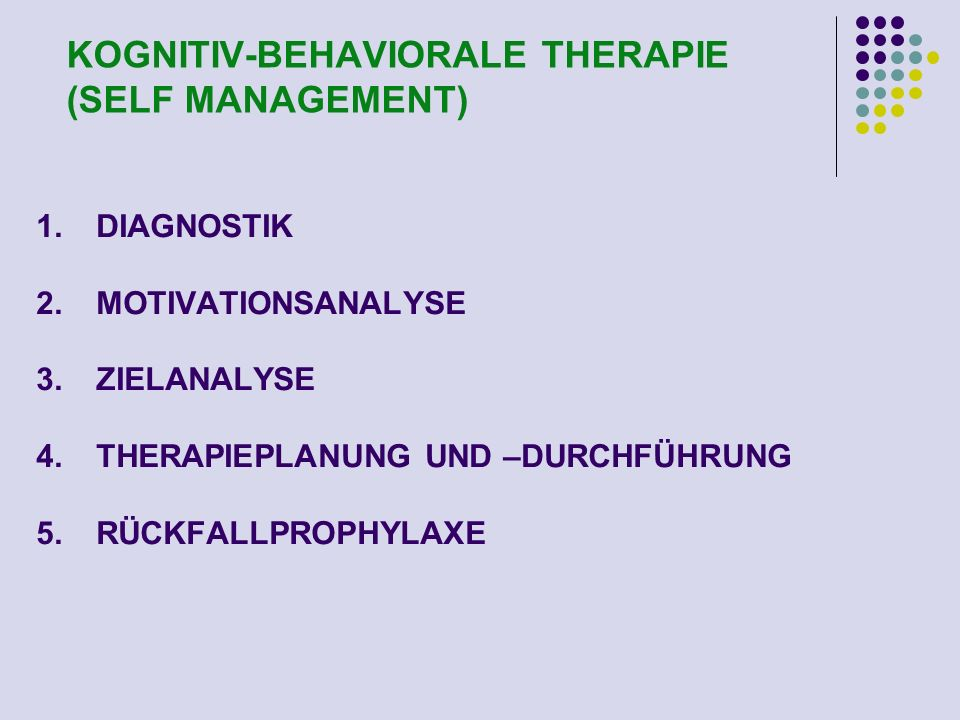 KOGNITIV-BEHAVIORALE THERAPIE (SELF MANAGEMENT)