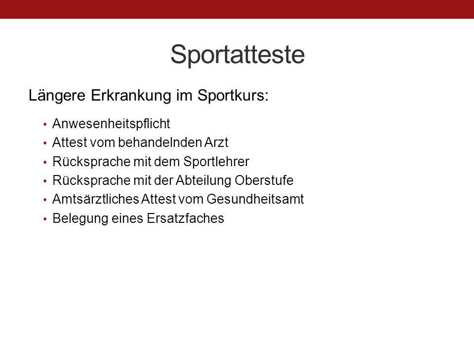 Sportatteste Längere Erkrankung im Sportkurs: Anwesenheitspflicht