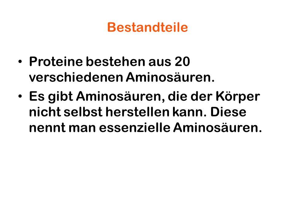 Bestandteile Proteine bestehen aus 20 verschiedenen Aminosäuren.