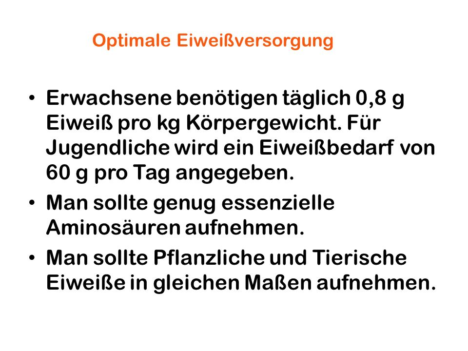 Optimale Eiweißversorgung