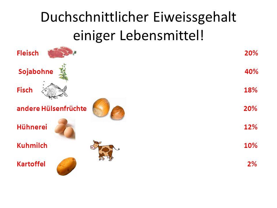 Duchschnittlicher Eiweissgehalt einiger Lebensmittel!