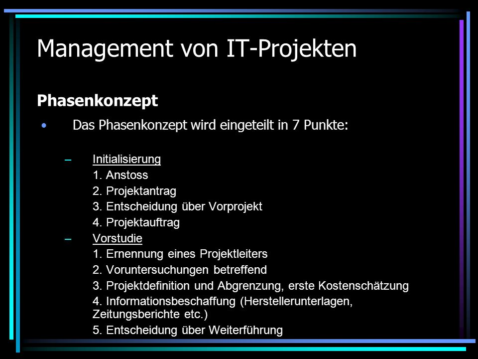 Management von IT-Projekten Phasenkonzept