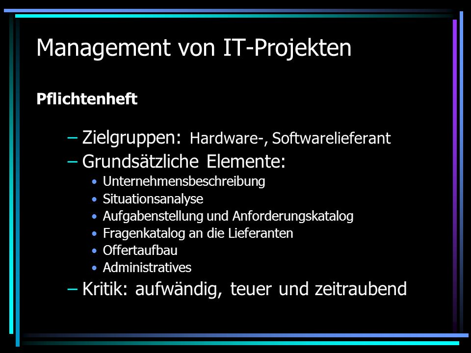 Management von IT-Projekten Pflichtenheft