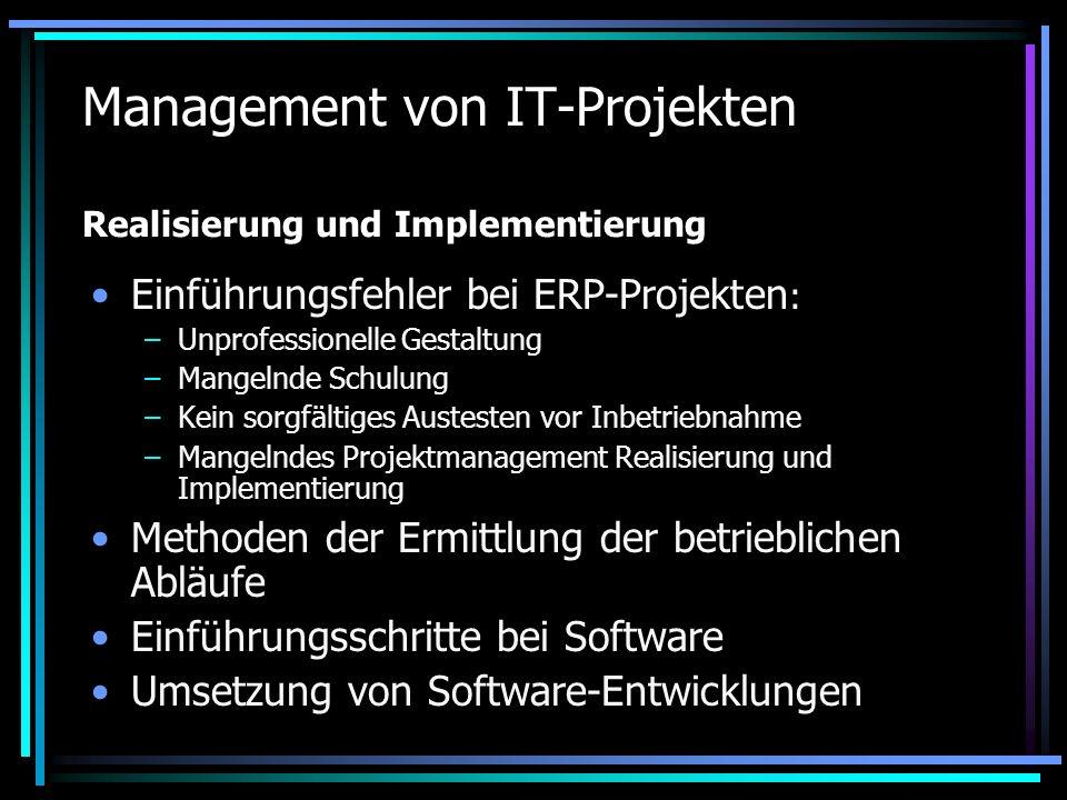 Management von IT-Projekten Realisierung und Implementierung