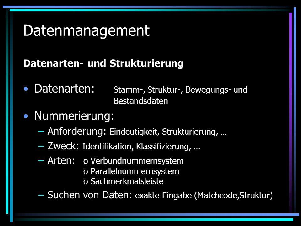 Datenmanagement Datenarten- und Strukturierung