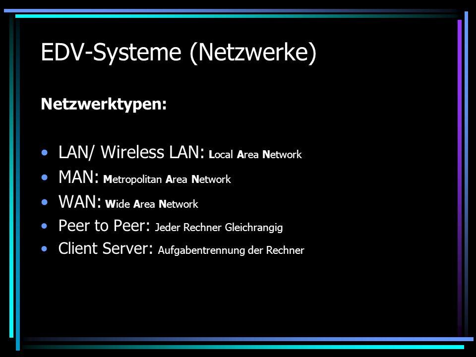EDV-Systeme (Netzwerke) Netzwerktypen:
