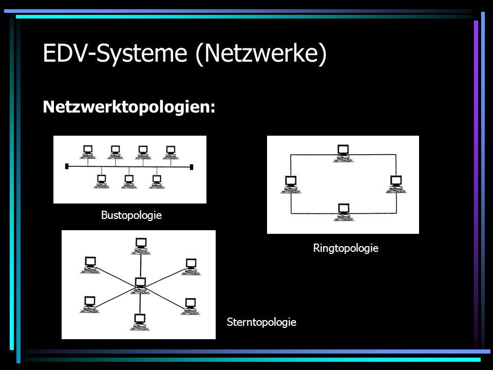 EDV-Systeme (Netzwerke) Netzwerktopologien: