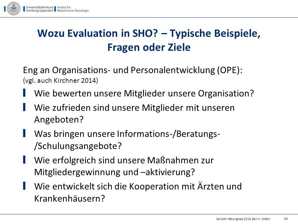 Wozu Evaluation in SHO – Typische Beispiele, Fragen oder Ziele