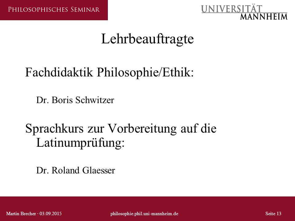 Lehrbeauftragte Fachdidaktik Philosophie/Ethik: