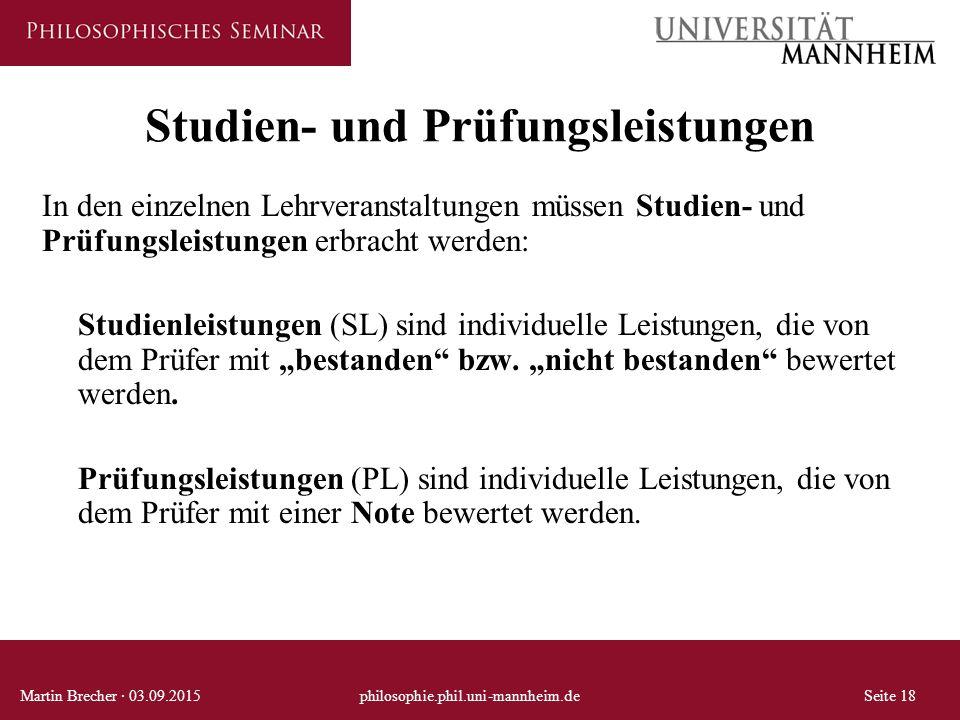 Studien- und Prüfungsleistungen