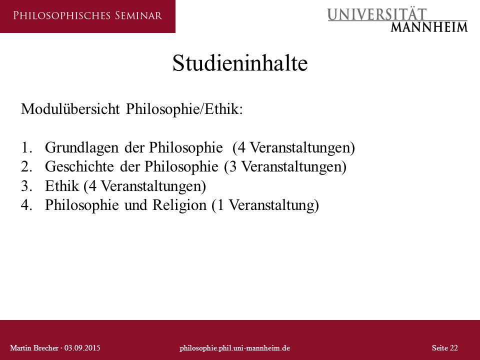 Studieninhalte Modulübersicht Philosophie/Ethik: