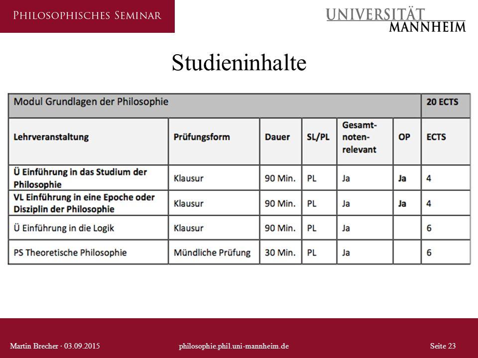 Studieninhalte Martin Brecher · 03.09.2015 philosophie.phil.uni-mannheim.de Seite 23