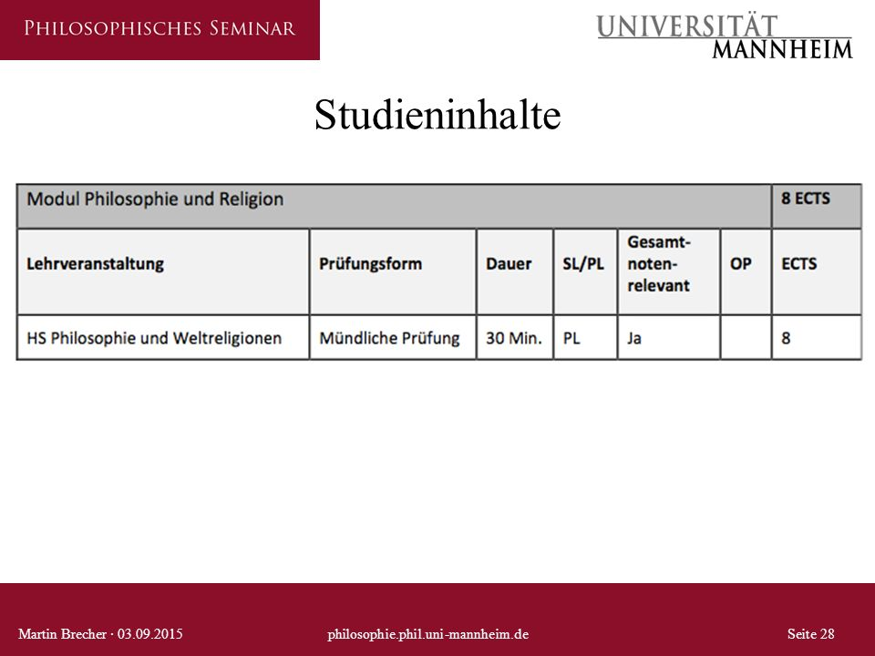 Studieninhalte Martin Brecher · 03.09.2015 philosophie.phil.uni-mannheim.de Seite 28