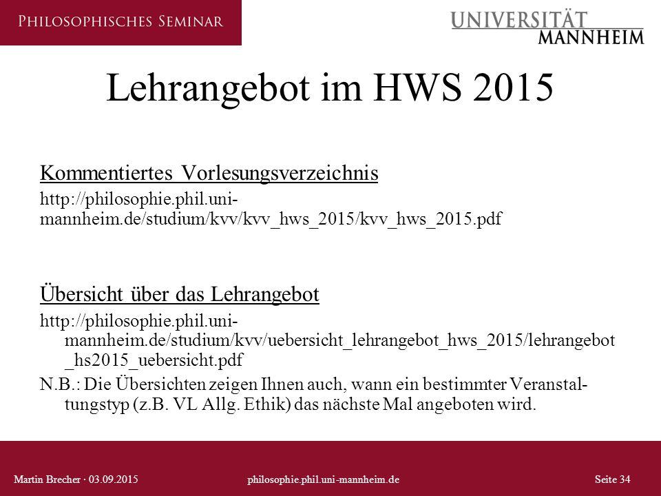 Lehrangebot im HWS 2015 Kommentiertes Vorlesungsverzeichnis